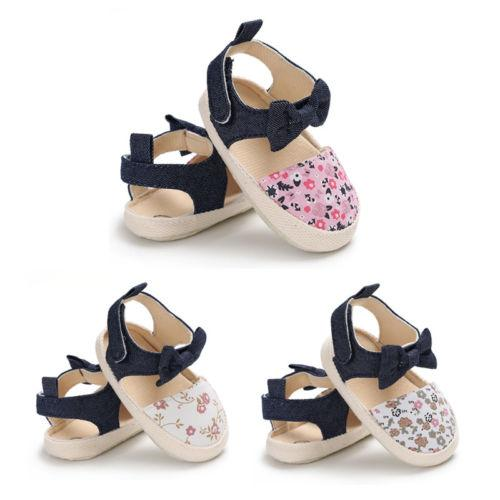 Infant Baby Girl Soft Sole Bowknot Shoes Anti-slip Summer Casual Crib Shoes Baby Poka Dots Flora Summer Canvas Sandals