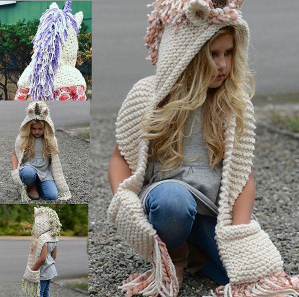 Kids Unicorn Hat Scarf 2 in 1 inverno infantile lavorato a maglia cappelli per bambini bambini mantello caldo maglieria Beanie Caps con nappa Crochet Scaves Cap hot