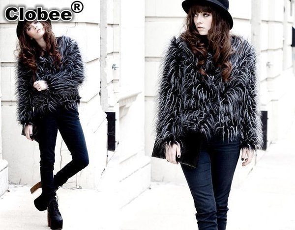 6XL 2018 Office Women Ladies Ostrich Feather Faux Fur Short Overcoat Jacket Long Hair Outerwear Winter Autumn Party Coat YR218
