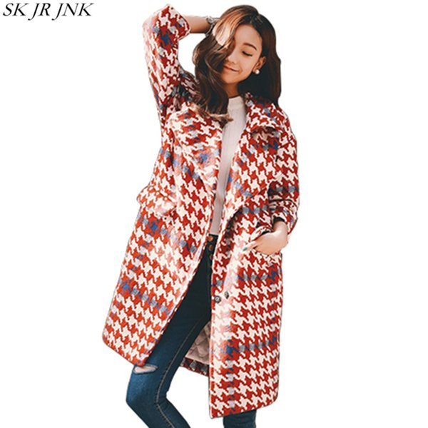 Warm Cashmere Plaid Padded Woolen Coat 2017 Winter Women Wool Blend Coat Fashion Long Trench Female Outerwear Winter Jacket LY03 L18100706