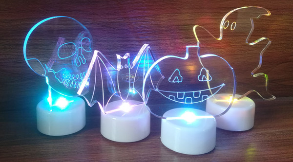 2018 Limited Set of 4pcs Halloween Led T Light Decoation with Clear Acrylic Laser Cutting Shape Bat Pumpkin Skull Ghost Mini Decoration Gift