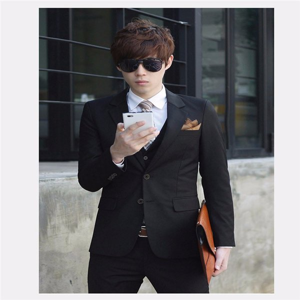 2018 New Single-Breasted Notched Lapel Men Wedding Suit Sets Formal Fashion Slim Fit Business Dress Suits (Jacket+Pant+Tie)
