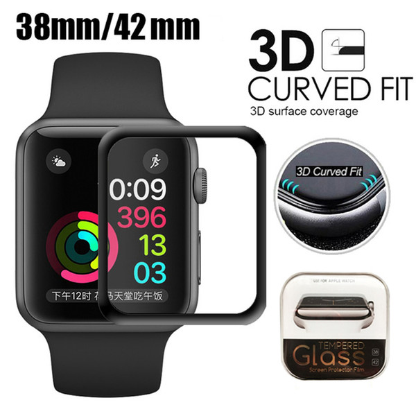 top popular For Apple Watch 3D Full Coverage Tempered Glass Screen Protector 42mm 38mm 44mm Anti-Scratch Bubble-Free For iWatch Series 1  2  3 4 2019