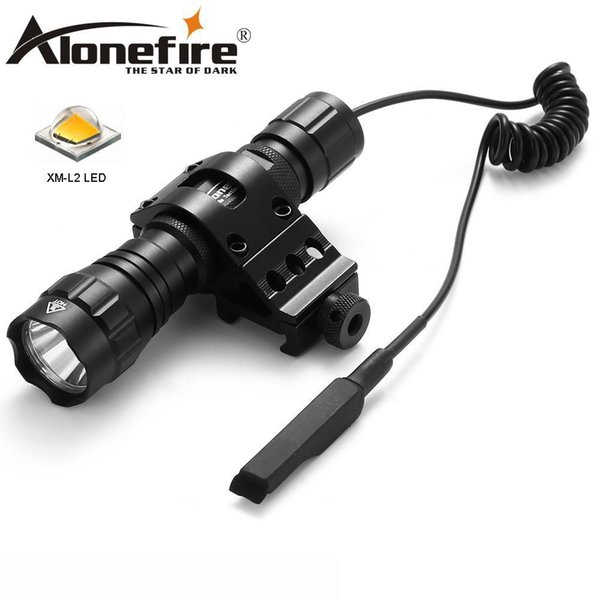 AloneFire 501Bs CREE XM-L2 Tactical Flashlight Torch Flash Light Lantern with Mount Remote Control Pressure Switch mount