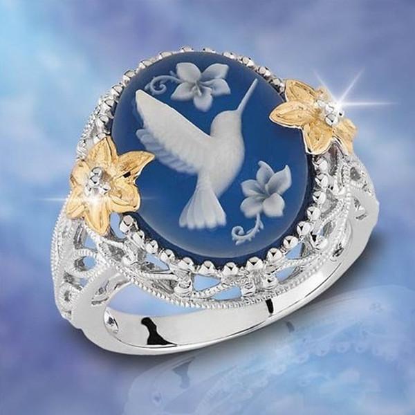 Novas Mulheres Jóias Moda Prata Criativa Azul Paz Pomba Anel Yiwu Pequenos Acessórios Por Atacado