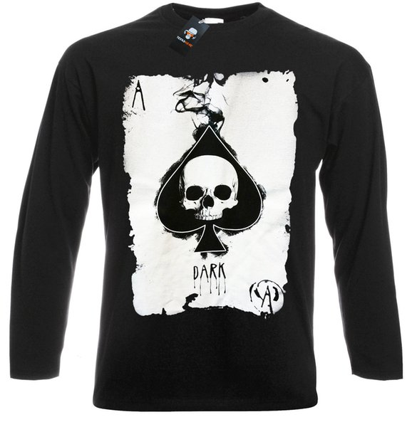 Ace of Spades Long Sleeve T-Shirt Rock Goth Punk Metal Biker Gothic Poker Cards