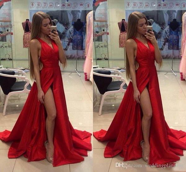 2018 Cheap Thigh Slit Splid Red Prom Dresses V Neck Sexy Open Back Sweep Train Custom Made Formal Prom Gowns Special Occasion Wears