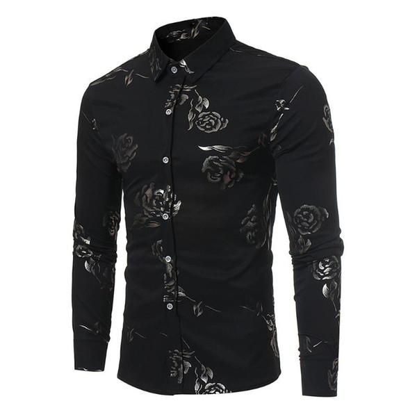 2018 Luxury British Style Shirts Mens Flowers Shirts Royal Baroque Vintage Social Club Outfits Fancy Camisa Slim fit