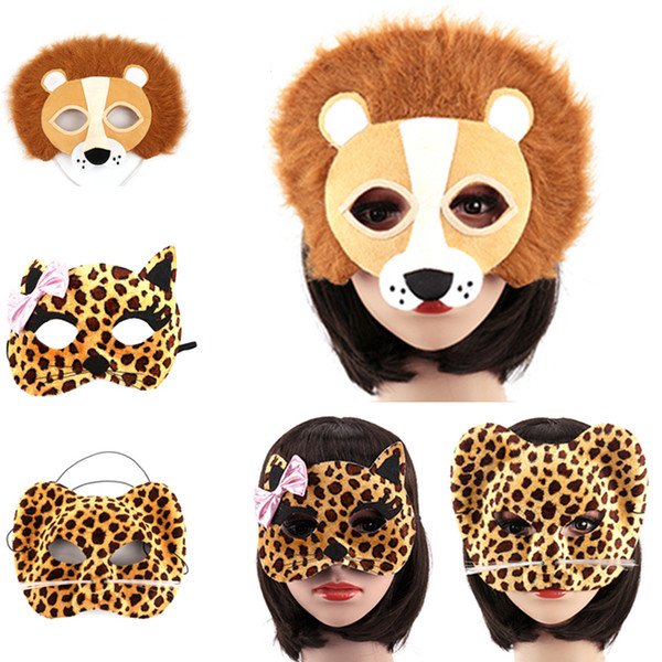 1 Pcs Halloween Party Animal Masks Cosplay Masque Costume Accessory Panda Fox Lion Leopard Wolf Event Party Supplies
