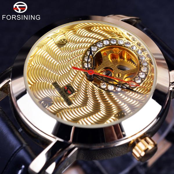 Forsining Golden Mens Watches Brand Luxury Mechanica Automatic Fashion Dress Corrugated Designer Small Dial Diamond Display Male Wrist Watch