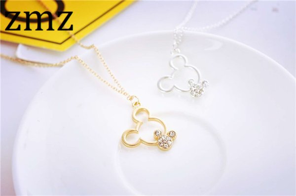 ZMZ 10pcs/lot simple fashion jewelry gold/silver minimalist mouse pendant cute lovely jewelry gift for friends mother's day gift