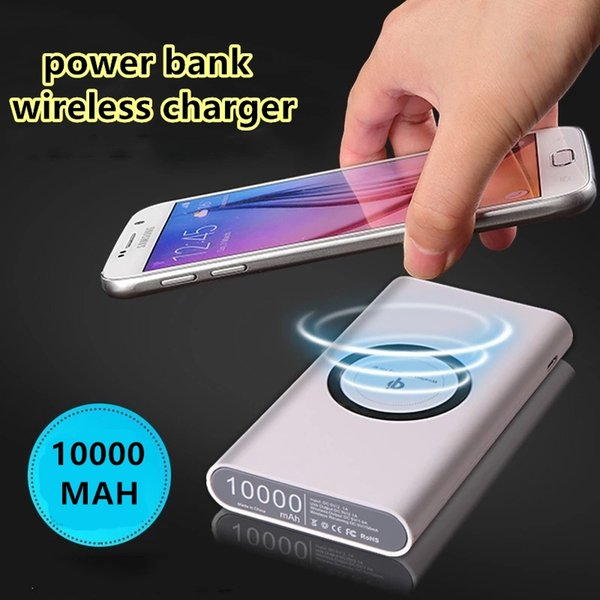 New QI Wireless Charger Power Bank for iphone 7/8/X samsung galaxy s7/s8 10000 mAh Portable Powerbank Mobile Phone Charger + retail box