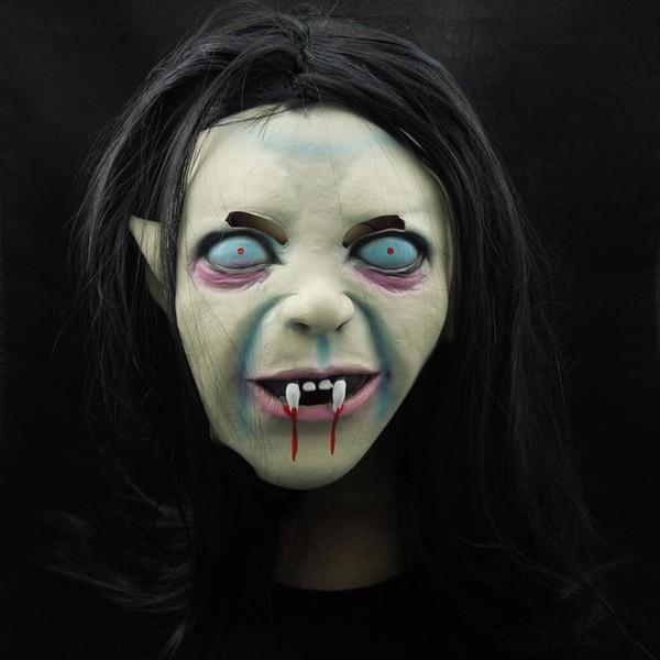 Sadako Fantasma Máscara Dia Das Bruxas Cabeça Cheia Todo o Dia dos Santos Látex Assustador Assustador máscara máscara de monstro de horror