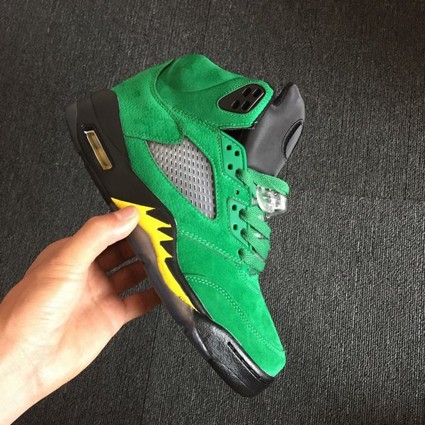 (With Box)Free Shipping 5 Oregon Ducks PE Shoes High Quality Man Green Black 5s Shoes