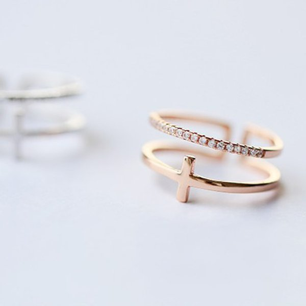 Venda quente Clássico da Cor do Ouro de Cristal Cruz Jóias Ajustável Dupla camada Anéis Para As Mulheres Meninas Partido Dos Namorados Bague Bijoux presentes