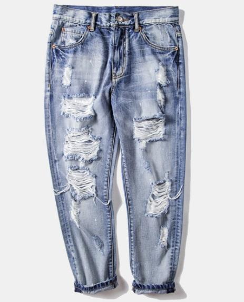 2018 spring new wash old knife cut holes worn men's jeans men's street nine pants