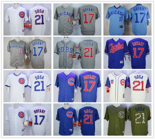 Camisetas de béisbol para hombre 17 Bryant 21 Camisetas de Sammy Sosa color blanco azul gris amarillo verde Tamaño M-3XL