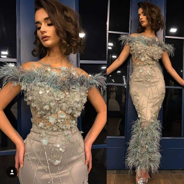Mermaid Prom Cocktail party Dresses 2018 Aankle Length Sexy Feather Hand Made Flower Beading Luxurious Beautiful Evening Gown