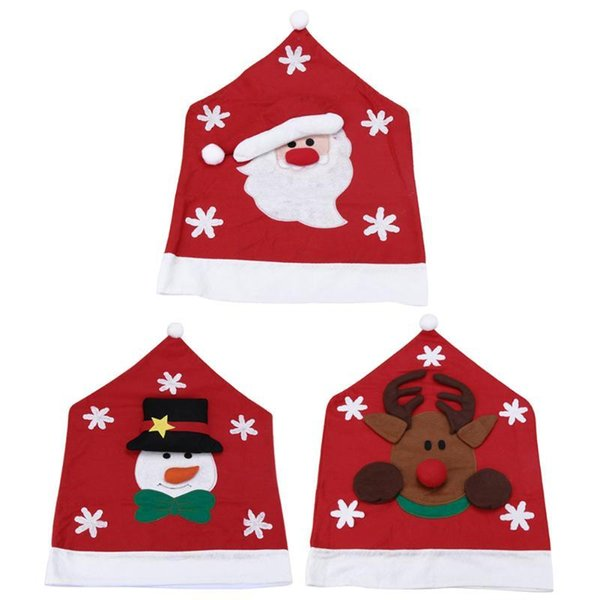 Christmas Decorations for Home Chair Back Snowman Santa Claus Elk Chair Back Navidad Natal New Year Merry Christmas Ornaments Y18102909