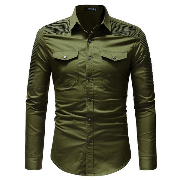 Marque 2018 Mode Mâle Chemise À Manches Longues Tops Fold Épaule De Poche Décoration Mens Robe Chemises Slim Hommes Chemise