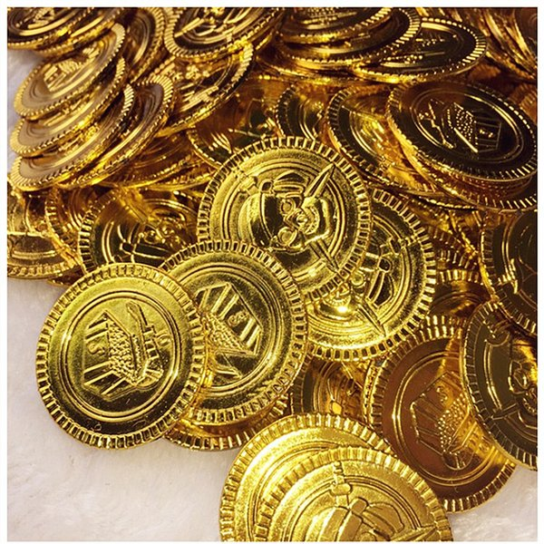 100&50Pcs Plastic Pirate Gold Coins Treasure Toys Coins Captain Pirate Halloween Christmas Decoration Game Currency 7ZHH204