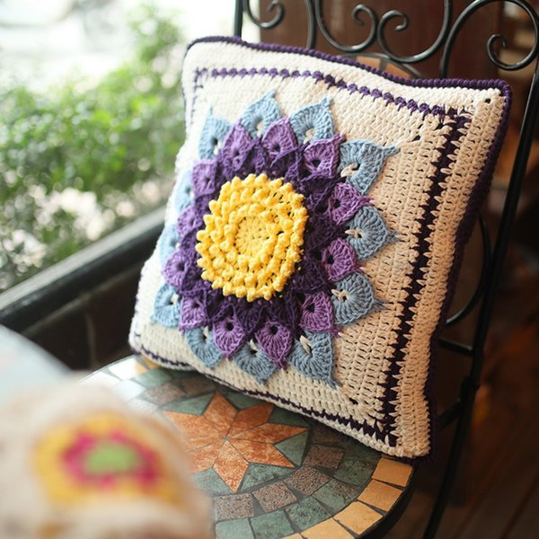 Original Retro Handmade Crochet Sofa Back Cushion Diy Garden Sunflower Cushion Traits Girdle Pillow Wedding Gfit Decor Prop 40cm Oversized Outdoor