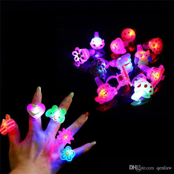 whole sale5pcs/lot New Cartoon LED Flashing Light Up Glowing Finger Ring Toys Christmas New Year Party Favor Gifts Toys for Children