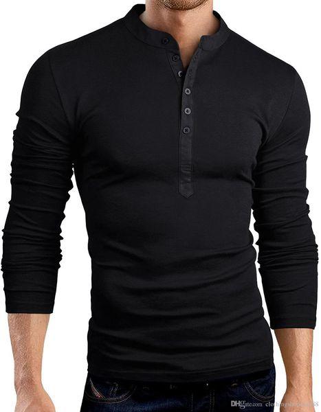 2018 Мужская футболка Сплошной цвет Мода V-образным вырезом с длинным рукавом Тонкая футболка Цвет строчки Повседневная уличная футболка Хип-хоп Топы Футболка M-3XL