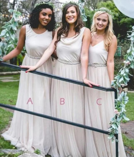 Mixed Neckline Boho Country Style A Line Chiffon Bridesmaids Dresses Summer Beach Wedding Guest Party Maid of Honor Gowns