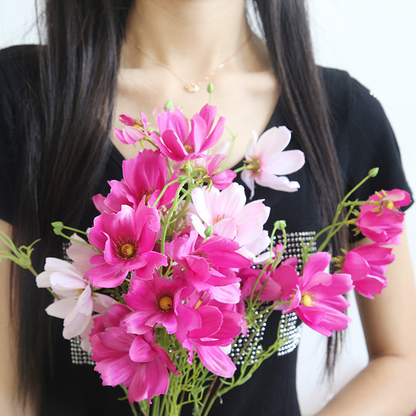 5pcs Artificial Daisy Gerbera Silk Daisy Bouquet Simulation Plant Branch Home Wedding Festival Decoration Gesanghua Fake Flower