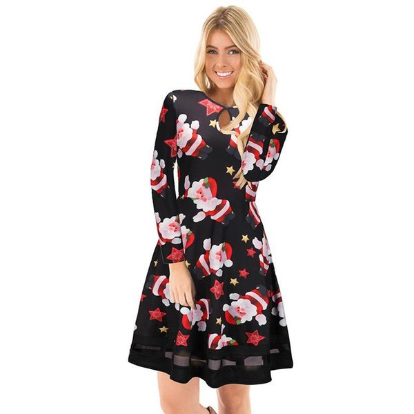 2017 Winter Women Dresses Christmas With Floral Print Long Sleeve Party Xmas Vestidos Dresses Casual Plus Size Womens Clothing Dress Women