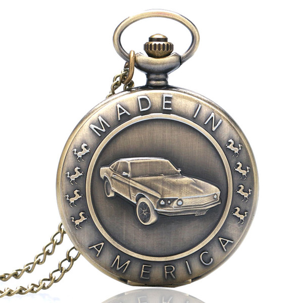 Alta qualità bronzo antico orologio da tasca al quarzo modello di auto regalo per le donne degli uomini