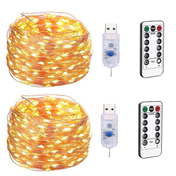 LED-Lichterketten USB-Plug-in-Lichterkette mit Fernbedienung, 200 LED-Kupferdrahtlichter, 8 Modi Dimmable Firefly Twinkle Lights Weihnachtsfeier