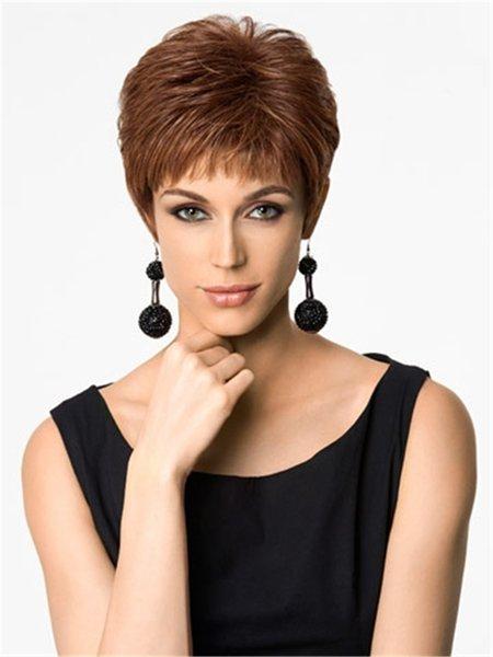 perruque de cheveux courts brun clair côté divisé bang perruque synthétique de fibre résistant à la chaleur sans perruque de mode pour les femmes