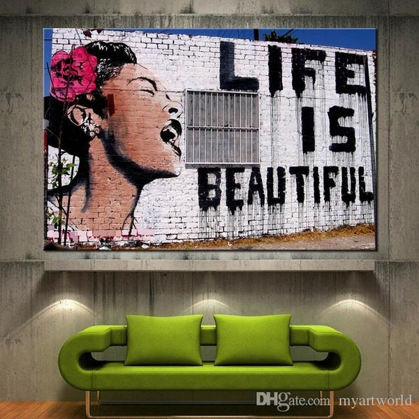 High Quality HD Print Banksy Life Is Beautiful Canvas Print Graffiti Wall Art Home Decor Prints,Multi Sizes Options Pr141