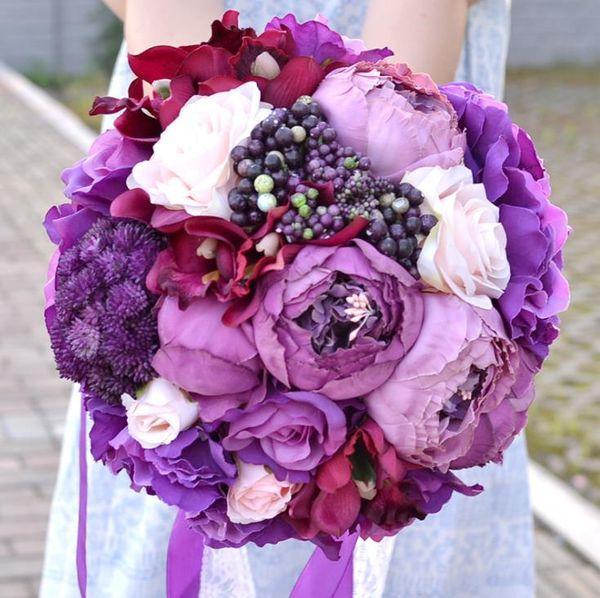 Craft gift wedding supplies wedding Europe and America charm purple bride holding bouquet