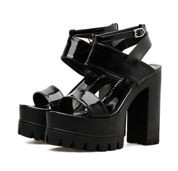 Korea fashion black patent PU leather ankle strappy platform chunky heel sandals quality shoes 2018 size 34 to 39