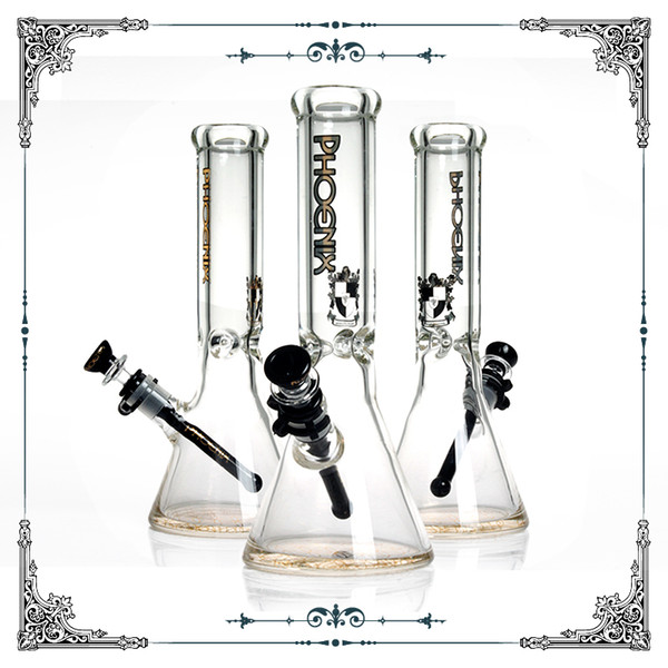 Hot sale Phoenix 9mm thick glass beaker bong smoking water pipe heady glass pipe hookah with ice catcher bong black downstem free shipping