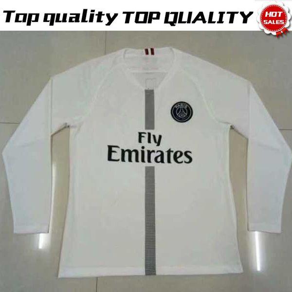 uk availability 02628 d2497 2019 Long Sleeve New Logo PSG White Soccer Jerseys 2018/19 Paris Saint  Germain #10 NEYMAR JR #7 MBAPPE #6 VERRATTI Full Sleeve Football Shirt From  ...