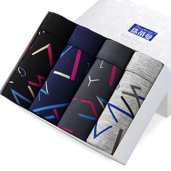 ZHUDIMAN Underwear 4Pcs/lot Best Selling Mens Boxer Mens Printed Soft Breathable Male Panties Boxer Hommen Sexy Modal Underpants