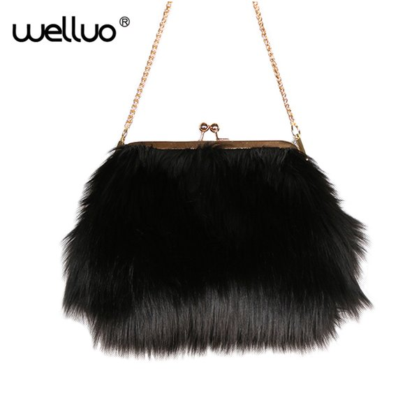 Women Faux Fur Day Clutch Small Evening Bag for Ladies Mini Party Chain Bag Female High Quality Daily Use Black White XA91WB