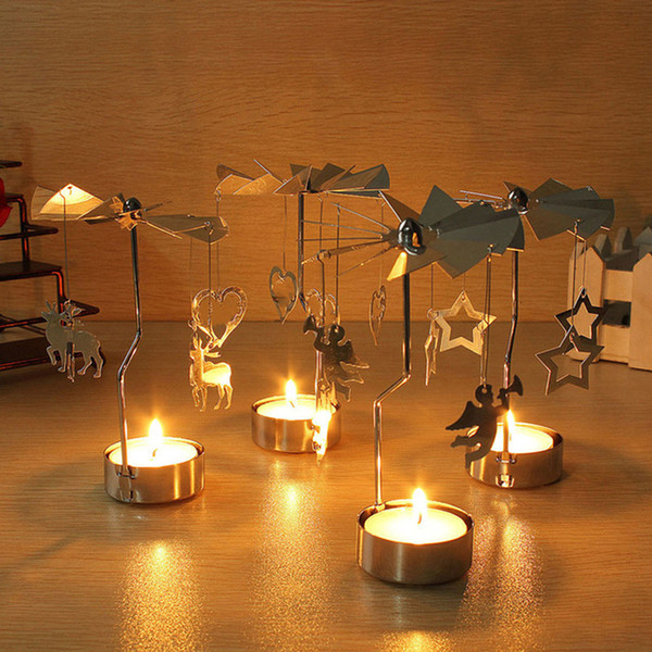 2018 new rotary candle holders metal european style romantic candle holders with heart star pendant for dinner birthday party