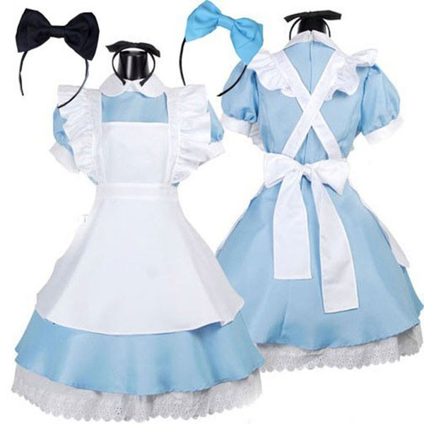 Hot Sale Alice in Wonderland Costume Lolita Dress Maid Cosplay Fantasia Carnival Halloween Costumes for Women Dress + Apron + 2 Headband