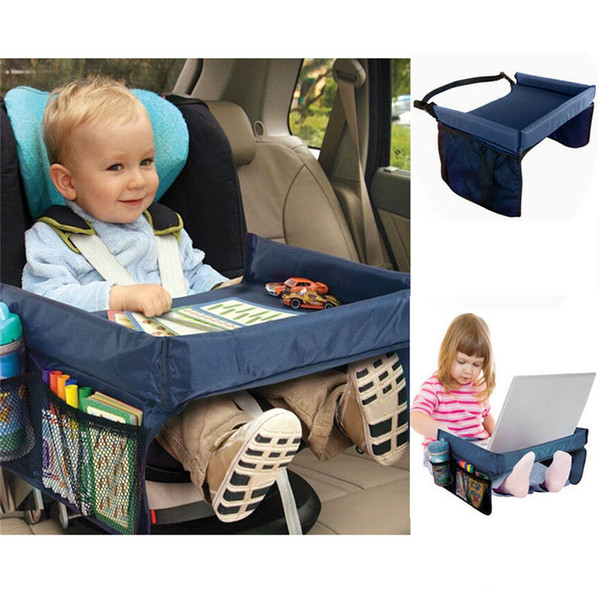 top popular Foldable Safety Baby Child Car Seat Table Kids Play Travel Tray Automobiles Seat Covers Car accessories storage box 5 Colors 2021
