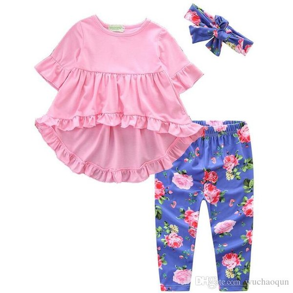 Babys girl Back to School Outfits Tops Pants Headbands Scarfs Bunny Striped Unicorn Flora Big Sisiter baby girl clothes Sets 1-8T BY0373