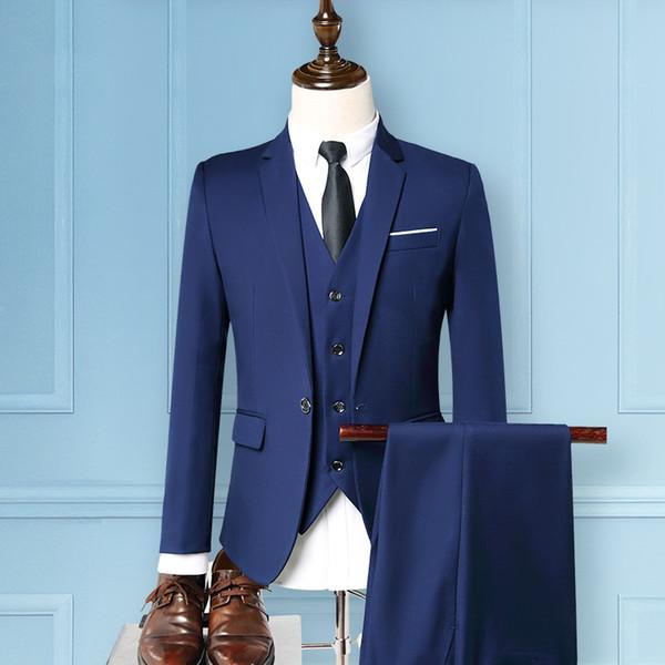 Grey Burgundy Blue Black Men Suits Wedding Groom Best Men Tuxedos 3 Pieces Notch Lapel Costume Homme 2018 Cheap Suits