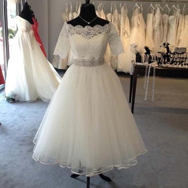 8c3571d64c6 Princess Short Sleeve Crystal Belt Off Shoulder Wedding Party Gowns Lace  Bridal Dresses 2019 Tulle Tea Length A Line Real Picture Appliques