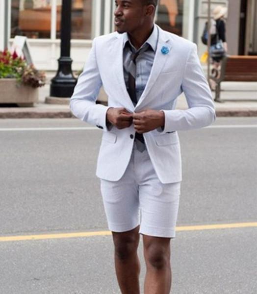 Neue Elegante Elfenbein / Weiß Männer Anzug Kurze Hosen Männer Sommer Tragen Anzug Set neue Mode Business 2 Stücke (Jacke + Pants)