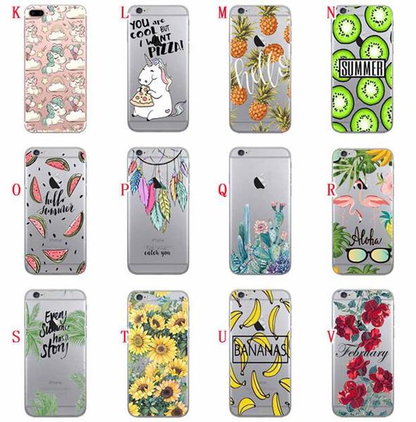 Cartoon Sky Star Soft TPU Case For Iphone XR XS MAX 8 7 PLUS 6 6S 5 5S SE Flower Flamingo Horse Moon Earth Cactus Leaf Pineapple Skin Cover