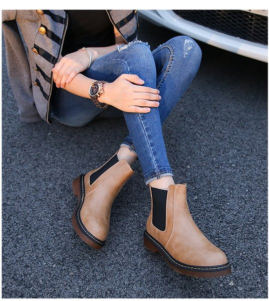 wuchaoqun / 2017 fashion winter tricolor brand new PU leather female ankle Martin ankle boots motorcycle smooth shoe fashion leather boots plus
